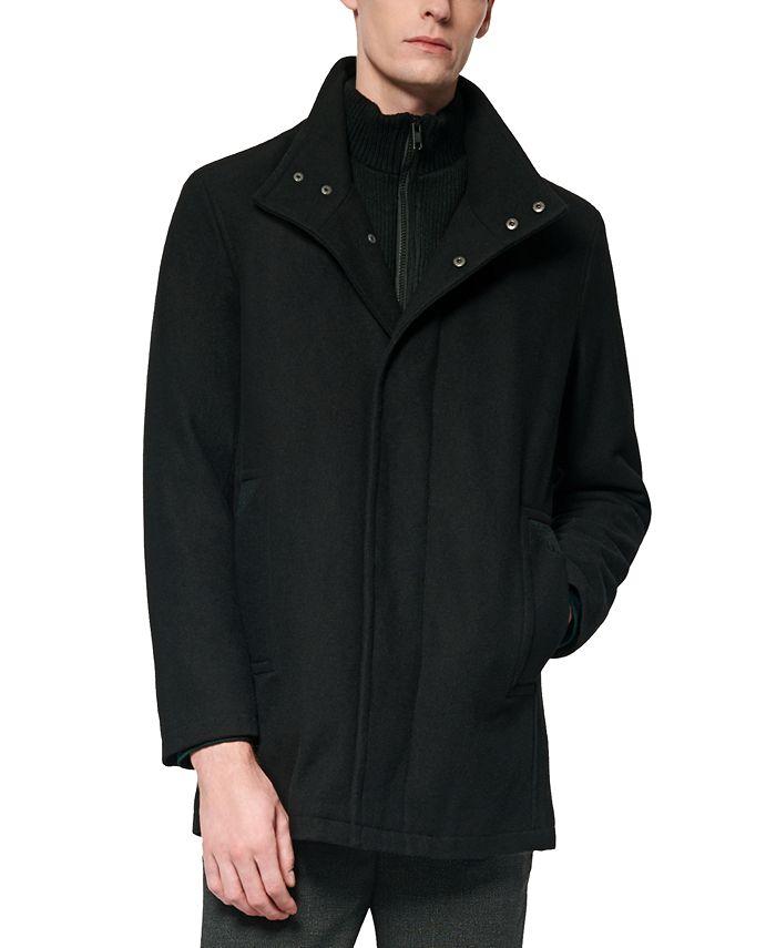 Marc New York - Men's Coyle Melton Wool Car Coat with Inset Knit Bib