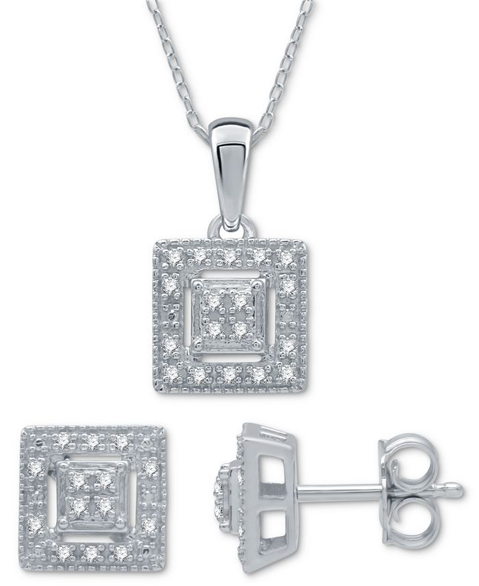 Macy's - 2-Pc. Set Diamond (1/6 ct. t.w.) Square Cluster Pendant Necklace & Matching Stud Earrings in Sterling Silver