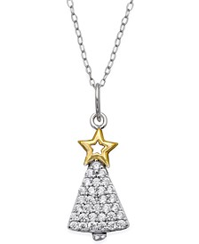 "Cubic Zirconia 18"" Holiday Pendant Necklace in Sterling Silver in Ornament Box, Created for Macy's"