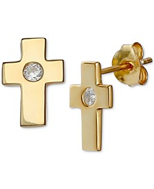 Cubic Zirconia Cross Stud Earrings in 18k Gold-Plated Sterling Silver, Created for Macy's
