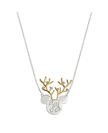 "Two-Tone Mickey Mouse ""Joy"" Reindeer Pendant Necklace in Fine Silver Plate"