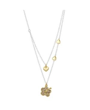 Two-Tone Lilo and Stitch Hibiscus Hearts Layer Pendant Necklace in Fine Silver Plate