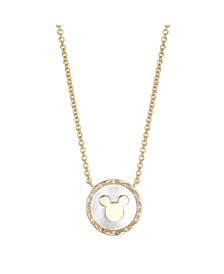 Gold Flash Tone Mickey Mouse Mother-of-Pearl Pendant Necklace in Fine Silver Plate