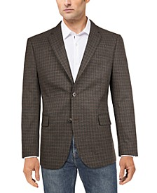 Men's Modern-Fit Charcoal/Brown Windowpane Plaid Sport Coat