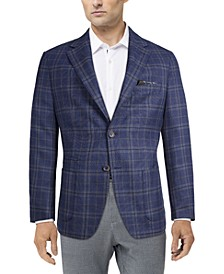 Men's Slim-Fit Navy Plaid Sport Coat