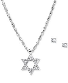 Silver-Tone Star of David Pendant Necklace & Stud Earrings Set, Created for Macy's