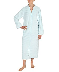 Waffle Fleece Long Zipper Robe