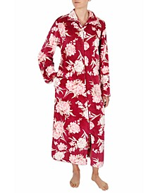 Floral-Print French Terry Long Zipper Robe