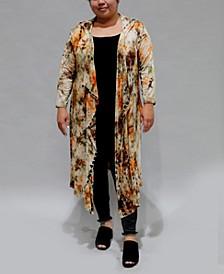 Women's Plus Size Tie Dye 3/4 Sleeve Hoodie Duster
