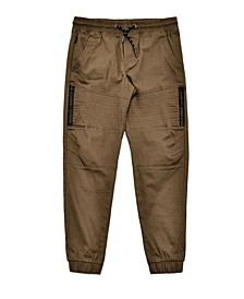 Big Boys Stretch Twill Jogger with Moto Detailing and Side Heat Seal Zippers