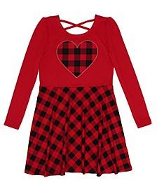 Little Girls Long Sleeve Plaid Print Skater Dress