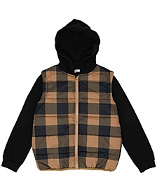Big Boys Checkered Full Zip Hooded Puffer Jacket