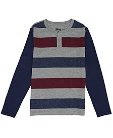 Big Boys Long Sleeve Striped Henley Tee