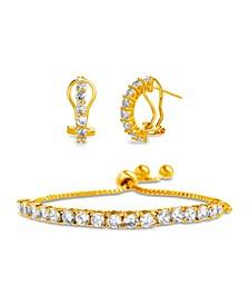Sterling Silver CZ Huggie Tennis Bracelet Set -- Comparable Value $79.99