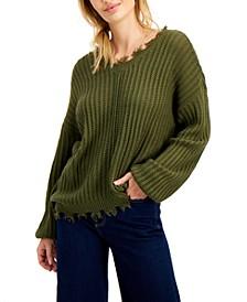 Juniors' Bar-Back Destructed Sweater