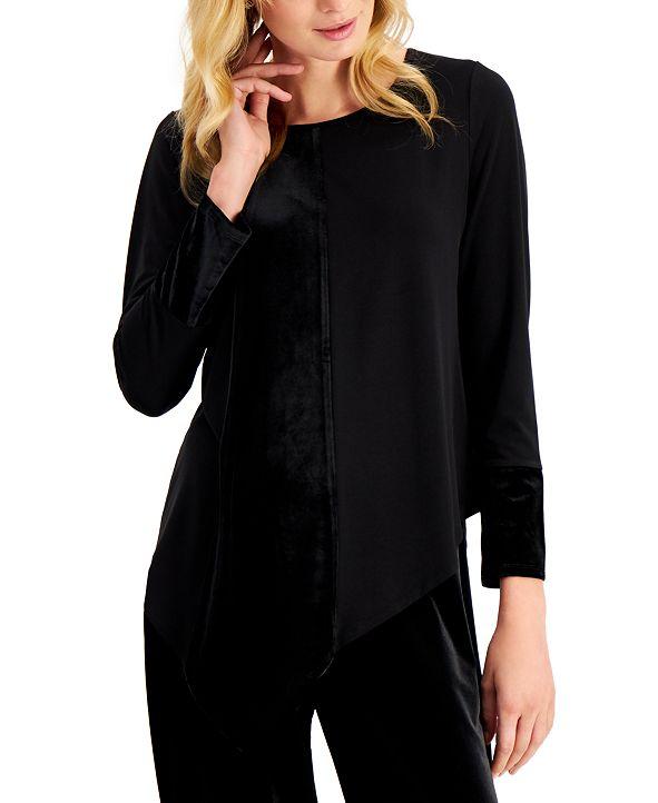 Alfani Plus Size Velvet-Panel Asymmetrical-Hem Top, Created for Macy's