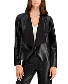 Plus Size Vegan Leather Drape-Front Jacket