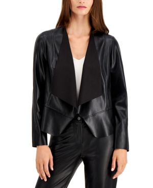 Anne Klein Plus Size Vegan Leather Drape-front Jacket In Anne Black