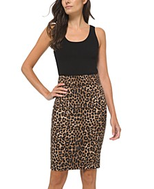 Petites Cheetah Print Pencil Skirt