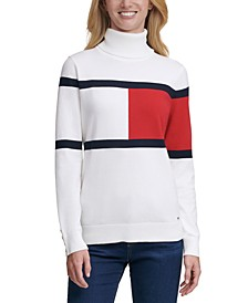 Colorblocked Flag Turtleneck Sweater