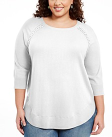 Plus Size Braided Lace-Up Tunic, Created for Macy's