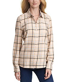 Plaid Button-Down Top