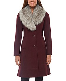 Faux-Fur-Collar Skirted Coat