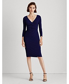 3/4-Sleeve Ruched Jersey Dress