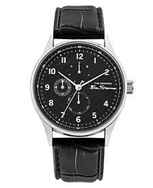 Men's Black Synthetic Leather Strap Multifunction Watch, 41mm