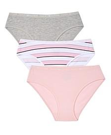 Big Girls Stripe Bikini Underwear, 3 Pack