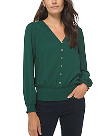 Button Down Long Sleeve Top, Regular & Petite Sizes