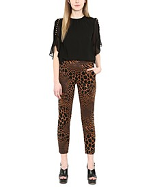 Plus Size Animal-Print Pull-On Pants
