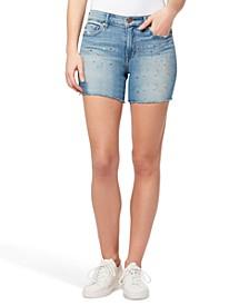 High-Rise Paint-Splatter Denim Shorts