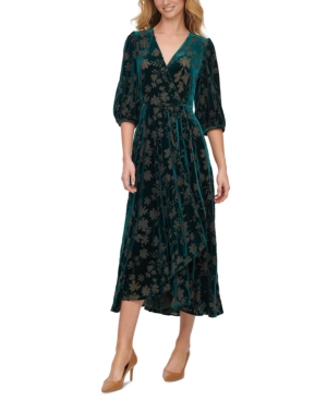 1920s Formal Dresses & Evening Gowns Guide Calvin Klein Velvet Surplice Maxi Dress $79.99 AT vintagedancer.com