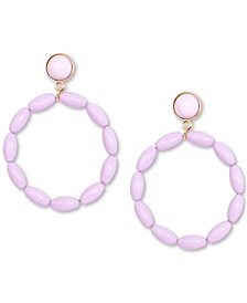 Gold-Tone Beaded Drop Hoop Earrings