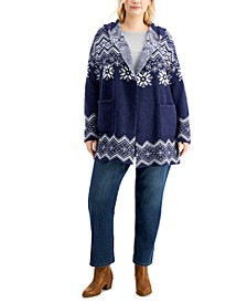 Plus Size Snowflake-Print Cardigan, Created for Macy's