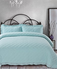 Ruffle Trim Cotton Gauze Full/Queen Quilt Set