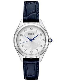 Women's Blue Leather Strap Watch 29mm