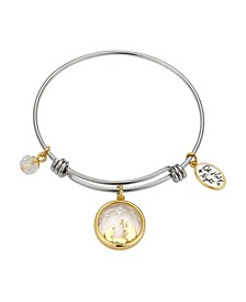 "Two-Tone ""Oh Holy Night"" Nativity Scene Crystal Shaker Adjustable Bangle Bracelet with Charms Silver Plated Charms"