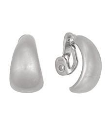Silver-Tone Button Clip Earrings
