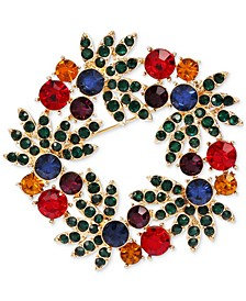 Gold-Tone Multicolor Crystal Wreath Pin, Created for Macy's