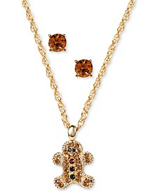 Gold-Tone Crystal Gingerbread Man Pendant Necklace & Stud Earrings Set, Created for Macy's