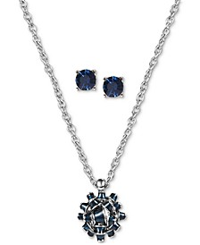 Gift Bow Pendant Necklace & Crystal Stud Earrings Set, Created for Macy's