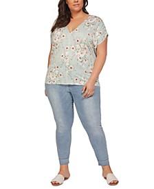 Plus Size Floral-Print V-Neck Top