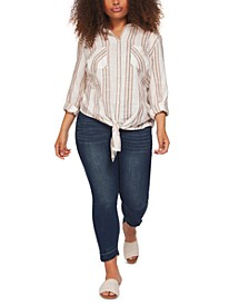 Plus Size Striped Tie-Hem Shirt