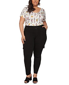 Plus Size Skinny Knit Cargo Pants With Front Seam