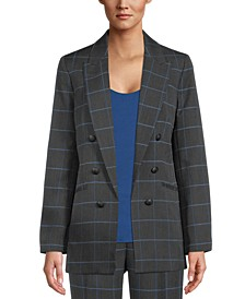Windowpane Faux-Double-Breasted Jacket, Created for Macy's