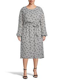 Anne Klein Plus Size Elastic-Waist Midi Dress