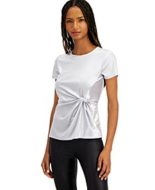 INC Twist-Front Shine T-Shirt, Created for Macy's