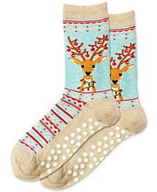 Reindeer Non-Skid Crew Socks